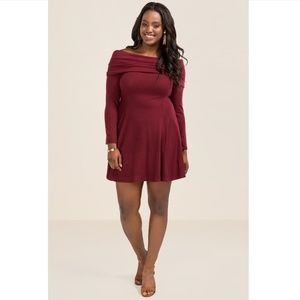 NWT Burgundy Off the Shoulder Dress - Francescas